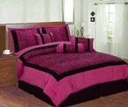 Buy cheap Pink / Black Zebra Faux Silk Flock Printing Comforter Set Bedding-in-a-bag from wholesalers