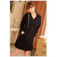 Buy cheap Coat B1357 Black Double Breasted Coat With Belt from wholesalers