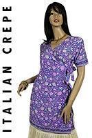 Buy cheap Crepe Italian Printed Silk Kurti Short Sleeve from wholesalers