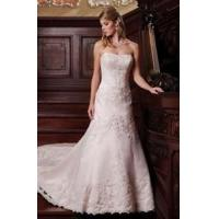 Buy cheap Strapless A line Applique Satin Lace Bridal Dress from wholesalers