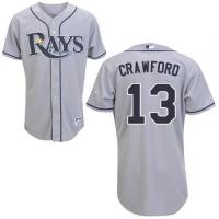 Buy cheap Tampa Bay Rays #13 Carl Crawford Authentic Grey Road Man MLB Jersey from wholesalers