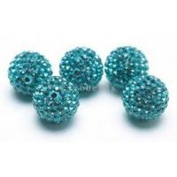Buy cheap Wholesale Blue Shamballa Crystal Pave Disco Ball Beads 14mm,Pave Crystal Ball Beads product