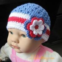 Buy cheap PATTERN  Crocheted 4th of July Beanie Hat with a large flowerFlapper Beanie 44 from wholesalers