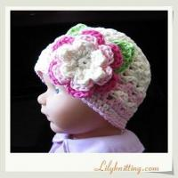 Buy cheap PATTERN  Crocheted Beanie Hat with a large flowerFlapper Beanie 33 from wholesalers