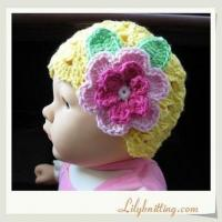 Buy cheap PATTERN  Crocheted Beanie Hat with a large flowerFlapper Beanie 18 from wholesalers