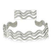 Buy cheap Sterling Silver Three Row Wave Bangle Cuff Bracelet from wholesalers