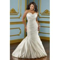 Buy cheap Sweetheart Shirring Satin Tiered Side Draping Beading Mermaid Wedding Gown Plus Size Sale from wholesalers