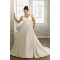 Buy cheap V Neck Taffeta White Plus Size Wedding Dress 2012 With V Back And Button Details from wholesalers