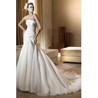 Buy cheap Ruched Ruffle Organza Chapel Train Bridal Dresses from wholesalers