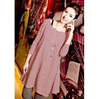 Buy cheap The Newest Korean Elegant Style Pleated Stripe Wide Red Lady T Shirt Dress from wholesalers