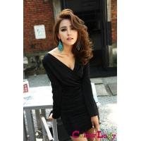 Buy cheap European Sexy Style Long Sleeve Pleated Deep V Collar Skinny Lady Night Out Dress from wholesalers