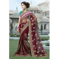 Buy cheap Maroon Color Net and Viscose Saree product