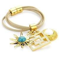 Buy cheap Trina Turk Tan Leather Gold Charm Bracelet from wholesalers