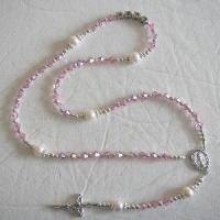 Buy cheap Mini Pink Crystal and Pearl Rosary from wholesalers