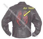 Buy cheap Ladies Black Leather Racer Style Motorcycle Jacket with Red Tribal Flames  Sizes XS to 4XL from wholesalers