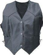 Buy cheap Ladies Basic Lambskin Leather Vest with Side Laces - Sizes XS to 5XL from wholesalers