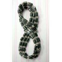 Buy cheap magnetic hematite necklace with multi black wood tubes and silver beads from wholesalers