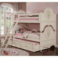 Buy cheap 5 Pieces Doll House Cream Kids Twin Twin Trundle Bunk Bed Bedroom Set from wholesalers