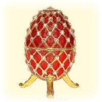 Buy cheap Large RED Faberge style Egg Box 24K Gold Swarovski Crystals with Big Jewelry Ring Insert Pill Box from wholesalers