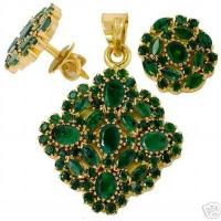 Buy cheap FULL EMERALD PENDENT WITH EARRINGS + FREE GIFT from wholesalers