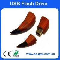 Buy cheap 2GB wood bull horn USB flash drive with customized logo from wholesalers