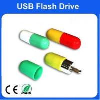 Buy cheap 32GB plastic pill shape of usb flash drive with customized logo from wholesalers
