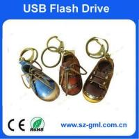 Buy cheap 4GB leather shoe shape of USB flash drive with customized logo from wholesalers