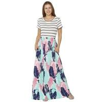 Buy cheap Striped Shirt Top Blue Pink Feather Print Maxi Dress #LC610111-5 from wholesalers