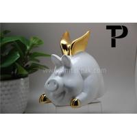 Buy cheap White Pig Money Bank with Golden Wings product