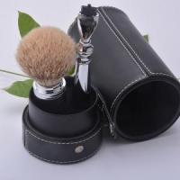 Buy cheap shaving kit S6 silvertip badger hair brush with mach3 razor travelling shaving set with pouc from wholesalers