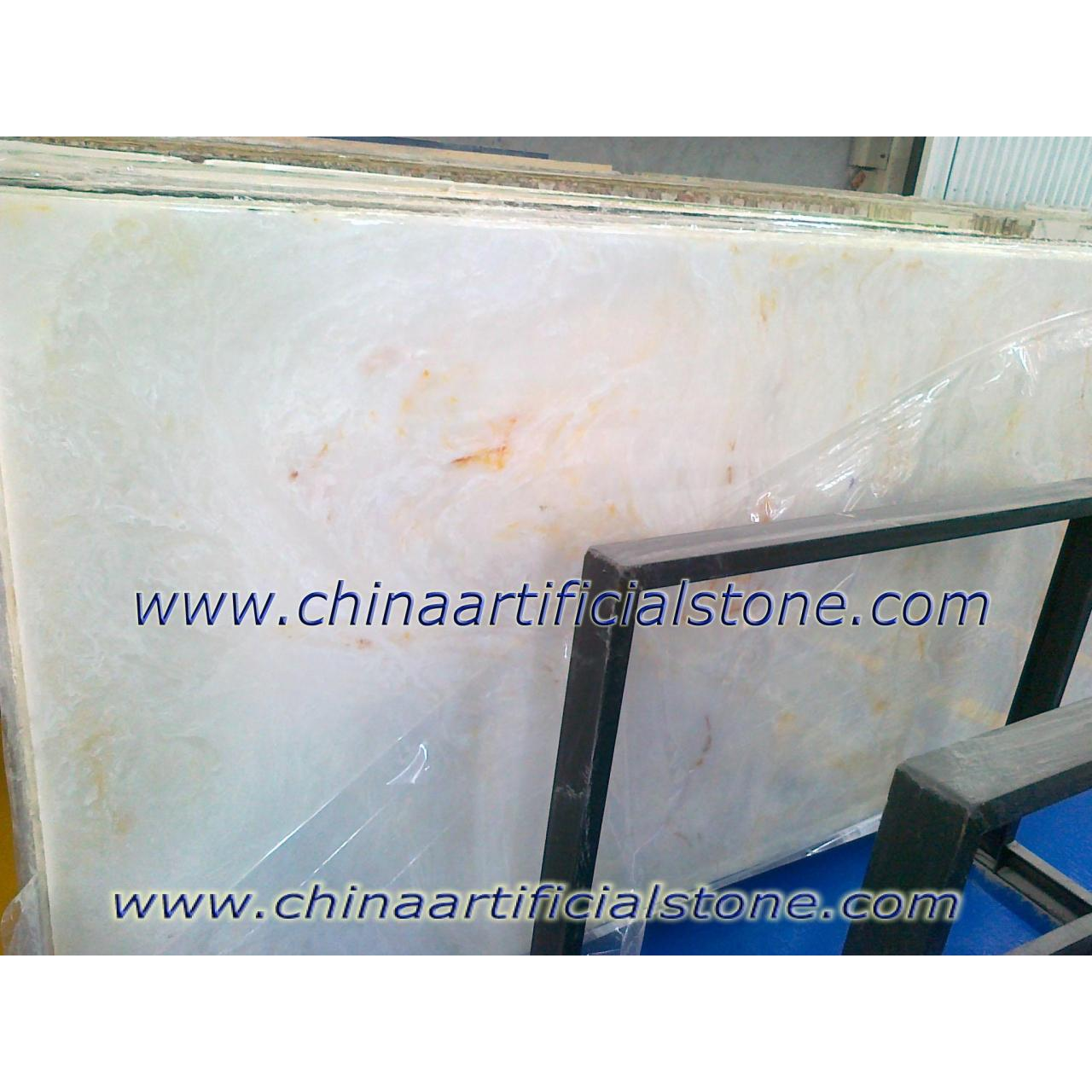Buy cheap Artificial White Onyx Stone Slab TA8005 Golden Silk White from wholesalers
