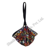 Buy cheap Tribal Mirror worked Potli Bag with Leather Trims product