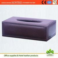 Buy cheap elegant classic style genuine leather tissue box for hotel from wholesalers