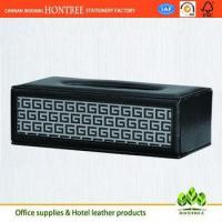 Buy cheap high quality genuine leather cover tissue box for hotel from wholesalers