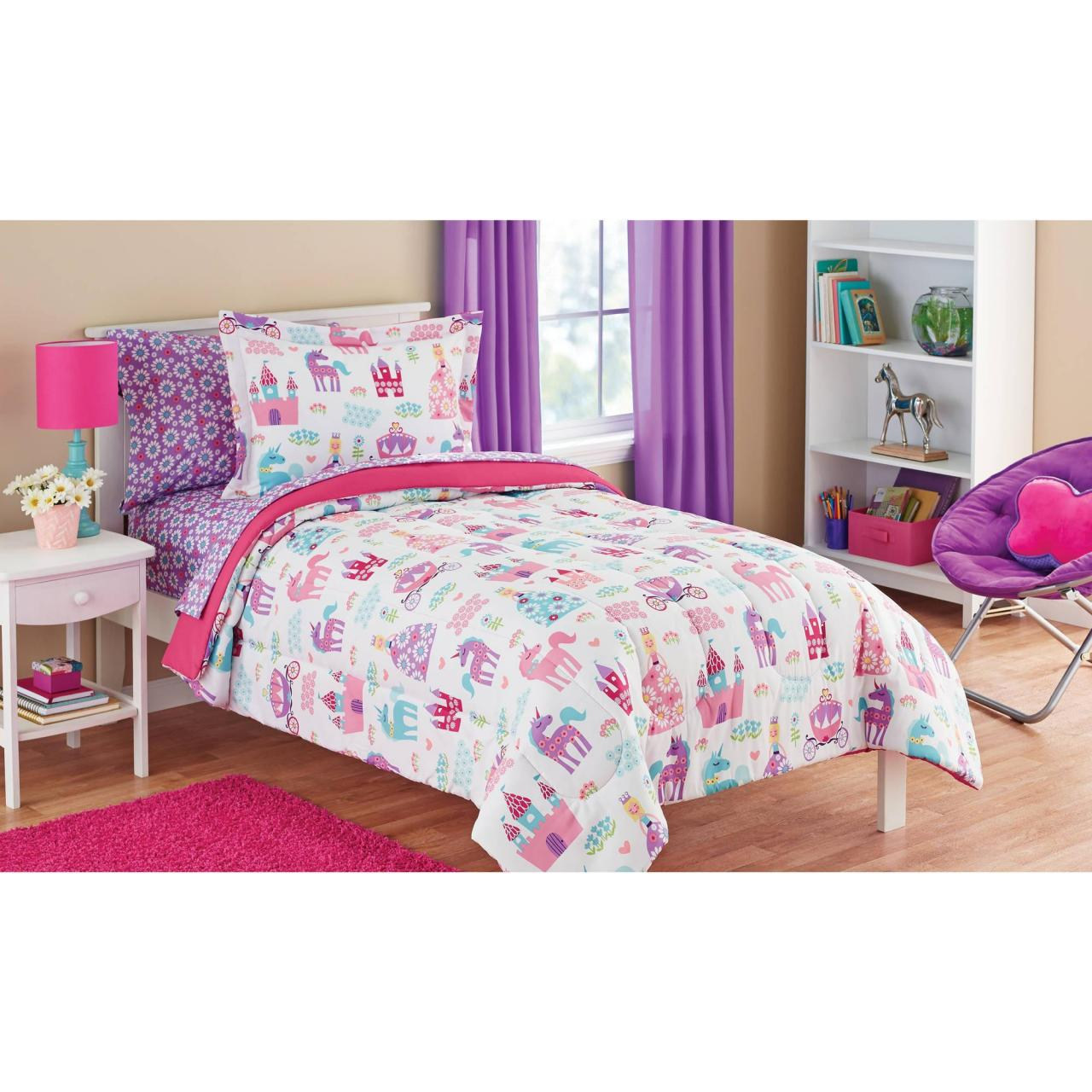 Buy cheap Sophisticated Twin Bed In A Bag At Mainstays Kids Pretty Princess Coordinating Bedding Set from wholesalers