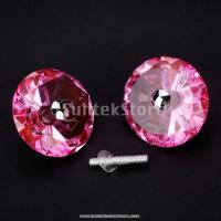 Buy cheap 1 pair diamond shape crystal glass door cabinet knob pull - pink clear Crystal handles from wholesalers