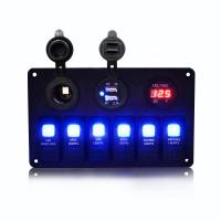 Buy cheap Rupse Car Marine Boat Refit On- Off LED Rocker Switch Panel Dual USB Car Charger (6 switches) from wholesalers