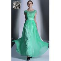 Buy cheap Green cap sleeves Round neck A-line Chiffon Pageant dress S935 from wholesalers