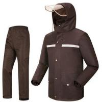 Buy cheap 100% polyester pongee multicolor man rainsuit woman hooded raincoat from wholesalers