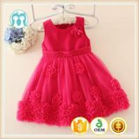 Buy cheap New Design Children Kids Embroidered Floral Trim Dresses Girl's Appliqued Sleeveless O-Neck Dresses from wholesalers