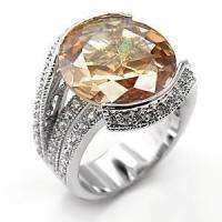Buy cheap Sterling Silver 925 Ring , With Champagne Cubic Zirconia, MI04100SS from wholesalers