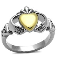 Buy cheap Stainless Steel Ion Two Tone (Gold & Silver) Irish Claddagh Ring, MITK115707145 from wholesalers