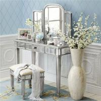 Buy cheap Vanity Table Mirrored Dressing Table with Folded Makeup Mirror from wholesalers