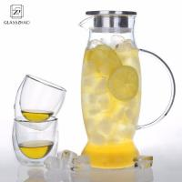 Buy cheap Glass Cold Brew Water/Juice Jug/Pitcher with Stainless Steel Lid from wholesalers