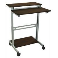 Buy cheap Furniture Luxor Mobile Stand-Up Computer Workstation With Silver Gray Frame And Dark Walnut from wholesalers
