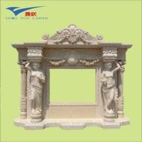 Buy cheap People carved corner electric fireplace with mantel or yellow marble fireplace from wholesalers