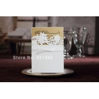 Buy cheap Delicate White Ribbon Bow Wedding Invitation, Laser Cut wedding Invitation Cards - Set of 50 from wholesalers