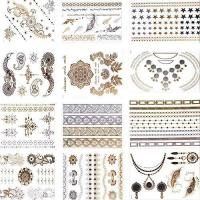 Buy cheap Makartt12 Styles12 Sheets Pack Gold Metallic Removable Waterproof Temporary Flash Tattoo Stickers from wholesalers