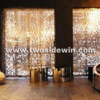 Buy cheap Shiny Club Divider Golden Metal Panel Drapery from wholesalers