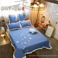 Buy cheap Gold Sufang best sale daisy blue logo living room bed cover set 300TC quilts bedding set from wholesalers